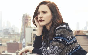 Picture roof, look, girl, face, the city, Rachel Brosnahan