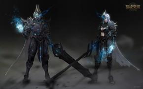 Picture the game, armor, warrior, fantasy, art, level, LVL, costume design, 猎魂觉醒_黑骑士_costume, NetEase Games GZ, Sung …