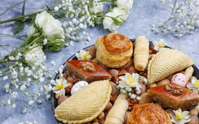 Picture flowers, roses, cakes, Oriental sweets