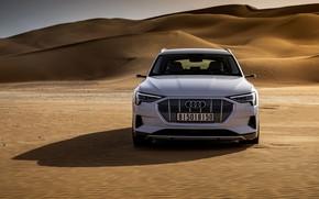 Picture white, Audi, desert, front view, E-Tron, 2019