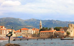 Picture sea, mountains, home, statue, dancer, Montenegro, Budva