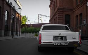 Picture old, america, retro car, american car, city, cadilac, deville