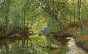 Picture 1896, Danish painter, Forest stream, Peter Merk Of Menstad, Peder Mørk Mønsted, Danish realist painter, …