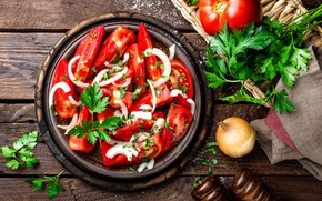 Picture food, bow, tomatoes, parsley, salad, spices, appetizer