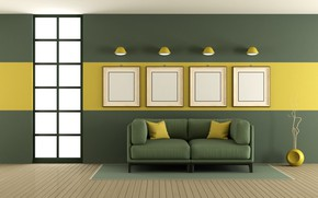 Picture sofa, green, interior, living room, living room