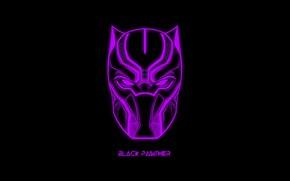 Picture the inscription, mask, black background, MARVEL, Black Panther, Black Panther