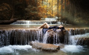 Picture girl, river, waterfall