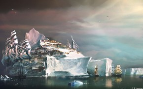 Picture Sea, The city, Iceberg, Ships, Ice, Sails, Fiction, Daniel Dociu, North, Guild Wars, Floe, by …