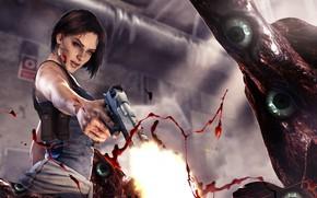 Picture girl, gun, blood, monster, resident evil, capcom, jill valentine