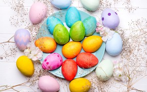 Picture flowers, eggs, colorful, Easter, flowers, eggs, easter