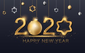 Picture New year, golden, black background, black, background, New Year, 2020
