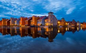 Picture water, reflection, building, home, Netherlands, Groningen, Groningen, The Netherlands, Reitdiep haven