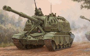 Picture art, Artillery, SAU, The armed forces of Russia, Russian, MSTA-S, 2S19M2 Self-Propelled Howitzer