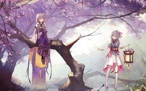 Picture fog, umbrella, lantern, vocaloid, Vocaloid, blue hair, in the water, in the woods, sitting in …