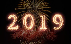 Picture gold, New Year, figures, golden, black background, black, background, New Year, fireworks, Happy, sparkle, 2019