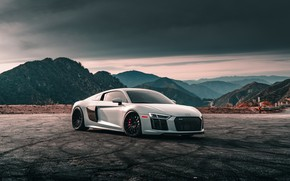 Picture Audi, White, Evening, VAG, V10 Plus