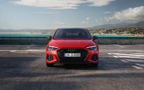 Picture sea, auto, red, Audi, Sedan