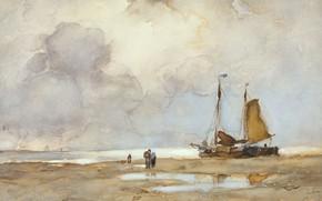 Picture figure, Beach, watercolor, 1903, Johan Hendrik Weissenbruch, Johan Hendrik Weissenbruch