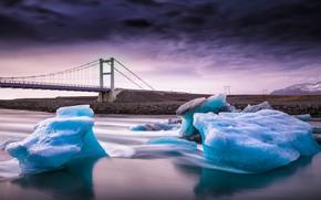 Picture bridge, river, ice