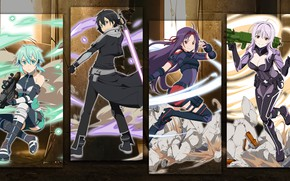 Picture girls, collage, guy, characters, Sword Art Online