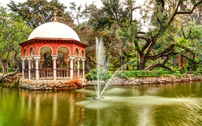 Picture greens, trees, pond, Park, stones, fountain, Spain, gazebo, the bushes, Sevilla, Maria Luisa Park