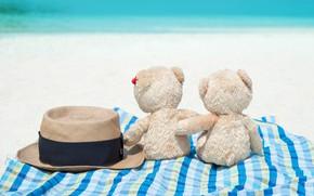 Picture sand, sea, beach, love, toy, bear, bear, pair, love, two, beach, bear, sea, romantic, sand, ...