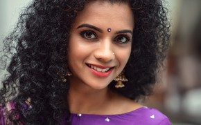 Picture eyes, smile, model, beauty, face, look, indian, makeup, curly hair