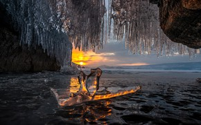 Picture winter, water, the sun, sunset, nature, lake, ice, icicles, Baikal, cave, the grotto