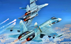 Picture Pair, multipurpose, highly maneuverable, Videoconferencing Russia, all-weather fighter-interceptor, the aircraft superiority in the air, Su-27