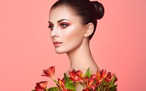 Picture look, girl, flowers, face, model, portrait, makeup, Oleg Gekman