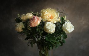 Picture flowers, roses, peonies