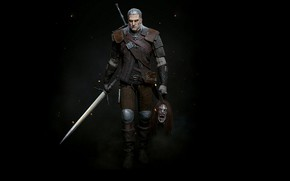Picture Swords, Black background, Geralt of Rivia, Gwynbleidd, White Wolf, The Witcher 3 Wild Hunt, The …