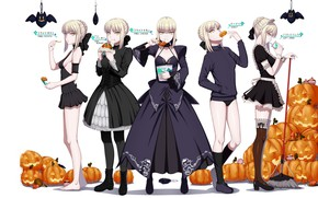 Picture girls, pumpkin, Halloween, the saber, Fate stay night, Fate / Stay Night