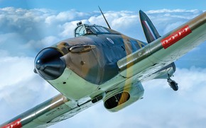 Picture Clouds, Screw, Fighter, Pilot, Hawker Hurricane, Hurricane, RAF, The Second World War, Chassis, Radial engine, …