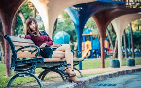 Picture legs, Asian, bench