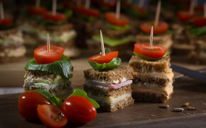 Picture bread, tomatoes, sandwiches, ham, canapés