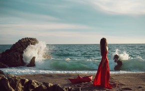 Picture sea, wave, girl, the wind, shore, dress, boat