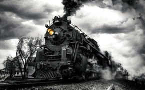Picture smoke, train, the engine, black and white, monochrome, mound, Our engine is flying ahead!
