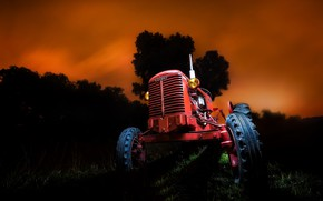 Picture night, background, tractor