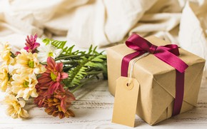 Picture flowers, gift, bouquet, colorful, chrysanthemum, flowers, gift box