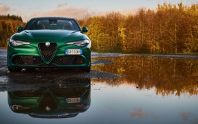 Picture Alfa Romeo, the reflection in the water, Four-leaf clover, Giulia, 2020, ADAS
