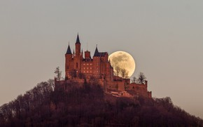 Picture the sky, trees, castle, the moon, wall, mountain, the evening, Germany, tower, fortress, Hohenzollern, Castle …