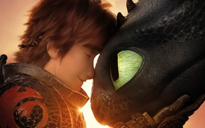 Picture close-up, dragon, cartoon, poster, Hiccup, Toothless, Viking, How to Train Your Dragon: The Hidden World, …