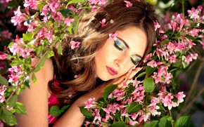Picture girl, flowers, face, makeup, flowering