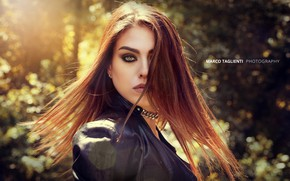 Picture look, the sun, pose, background, model, portrait, makeup, jacket, hairstyle, brown hair, beauty, in black, …