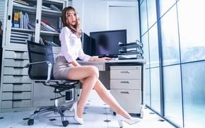 Picture skirt, chair, office, blouse, legs, Asian, cutie, Secretary
