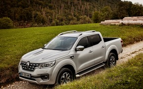 Picture grass, Renault, pickup, logs, 4x4, primer, 2017, Alaskan, gray-silver