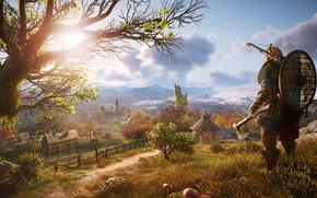 Picture tree, Warrior, Landscape, Viking, Shield, Assassin's Creed Valhalla