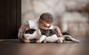 Picture look, face, pose, background, mood, black and white, child, the situation, dog, baby, friendship, girl, …