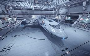 Picture space, spaceship, space base, Elite: Dangerous